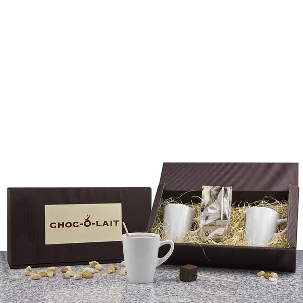 Schokolade als Stick mit Tassen als Werbepräsent