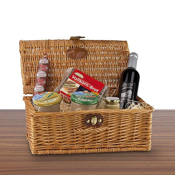 Wurstkorb mit Rotwein als Werbepräsent