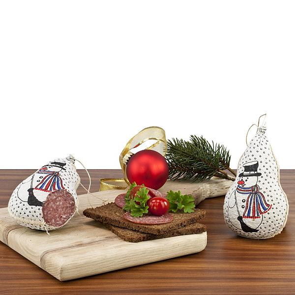 Salami Schneemann als Werbepräsent zu Weihnachten