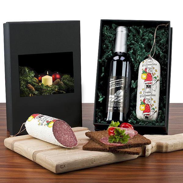 Salami im Set mit Rotwein als Werbepräsent Weihnachten