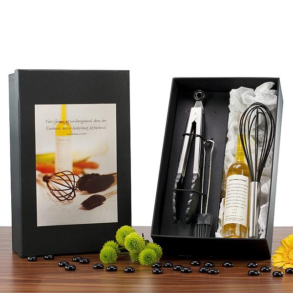 Küchenset mit Olivenöl als Werbepräsent