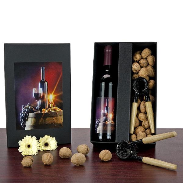 Rotwein und Nüsse Set als Geschenk Präsent