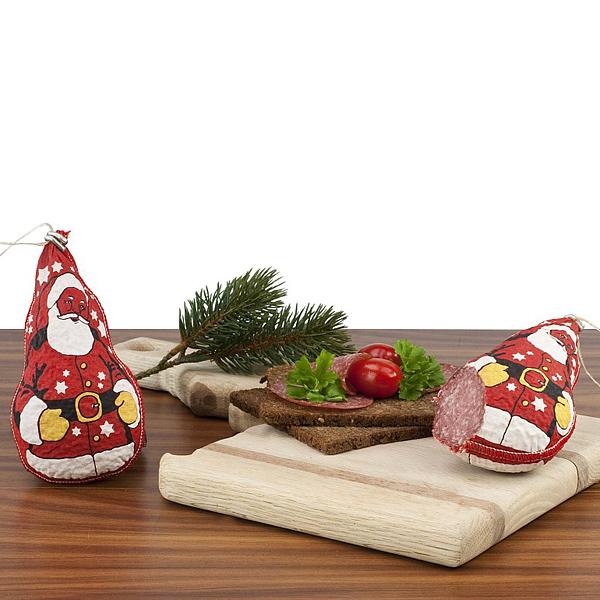 Salami als Weihnachtsmann als Werbepräsente zu Weihnachten