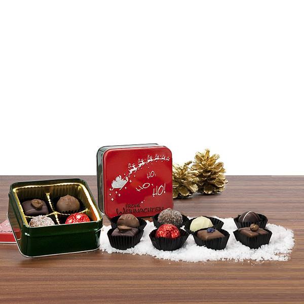 Trüffel Pralinen in Weihnachtsverpackung als Werbepräsent