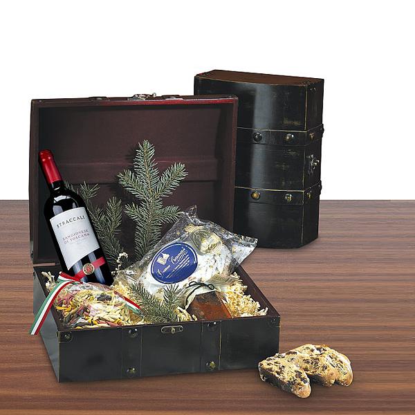 Christstollen Set mit Wein und Nudeln als Werbepräsent
