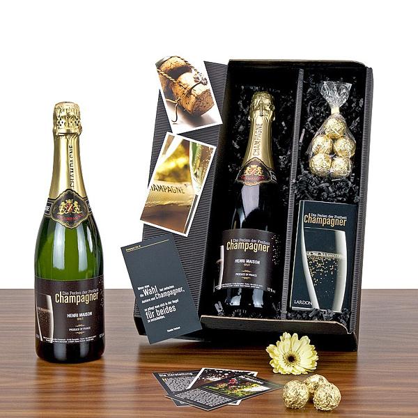 Champagner mit Trüffelpralinen als Präsent Set