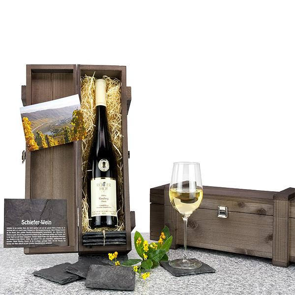 Riesling Weißwein mit Glasuntersetzern als Werbegeschenk