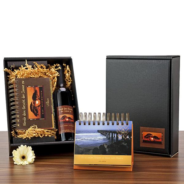 Rotwein Flasche in Geschenkverpackung als Werbepräsent