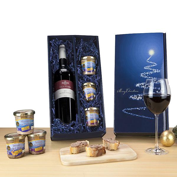 Pasteten mit Wein als Werbepräsente zu Weihnachten