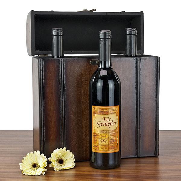 Rotwein in Weinkoffer als Geschenk Präsent