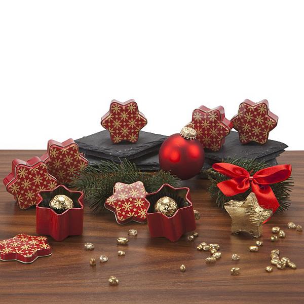 Pralinen in Sterndose als Werbepräsent zu Weihnachten
