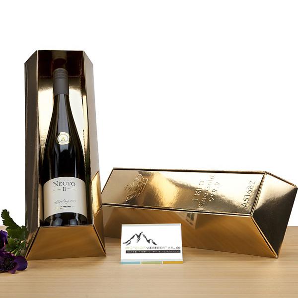 Wein in Goldbarren als Geschenk Präsent