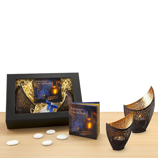 Teelicht Gläser in Gold Farbe als Werbepräsente