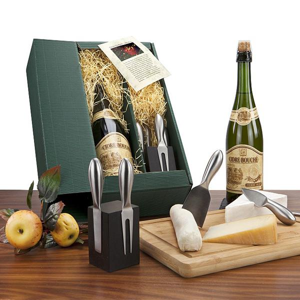 Apfelschaumwein mit Käse Messerblock als Werbegeschenk