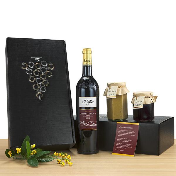 Rotwein, Senf und Marmelade im Set als Werbepräsent