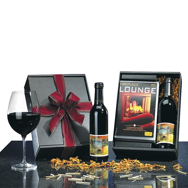 Rotwein Set  mit Kaminfeuer als Werbegeschenk