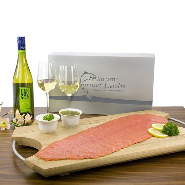 Gourmet Lachs 300g mit Weißwein als Werbepräsent