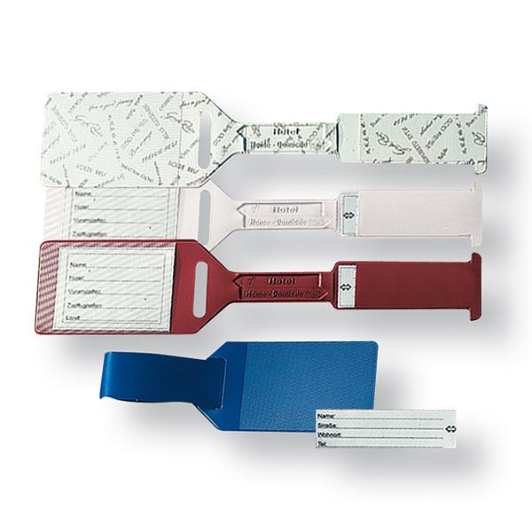 Kofferanhänger mit Logodruck als Werbegeschenk