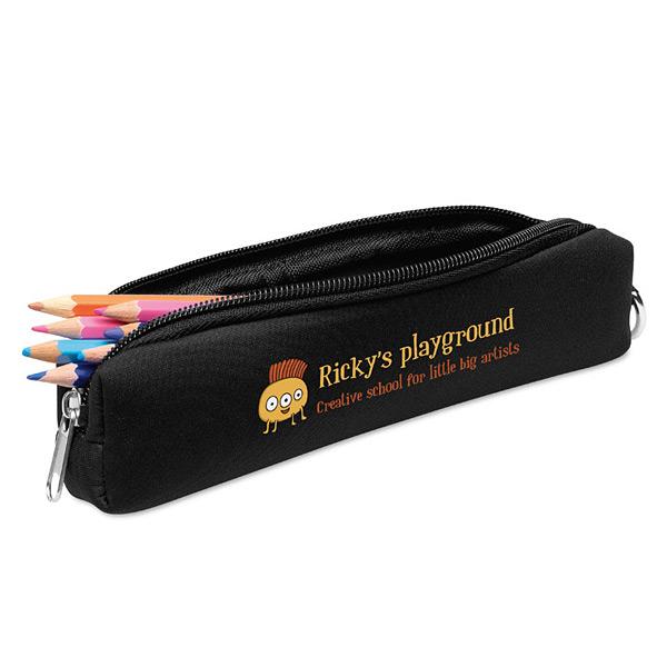 Mäppchen für Stifte mit Karabinerhaken als Werbegeschenk