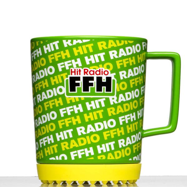 Kaffeebecher 0,30l Werbeartikel mit Softpadfuss in Sonderfarben