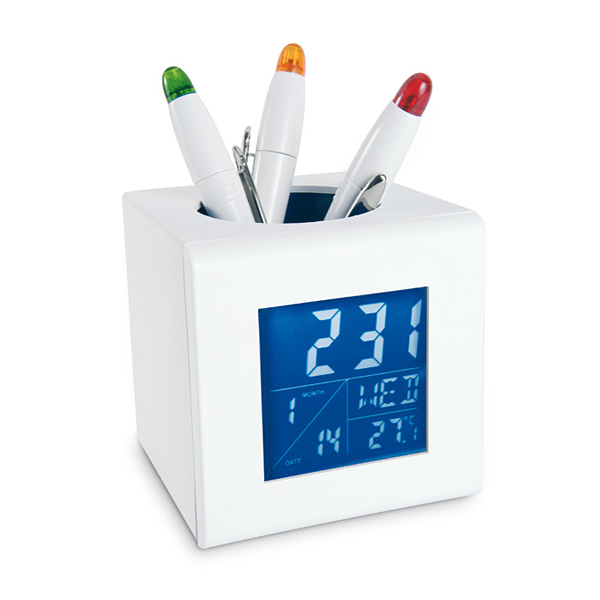 Stifte-Halter inkl. LCD-Uhr (bedruckbar)