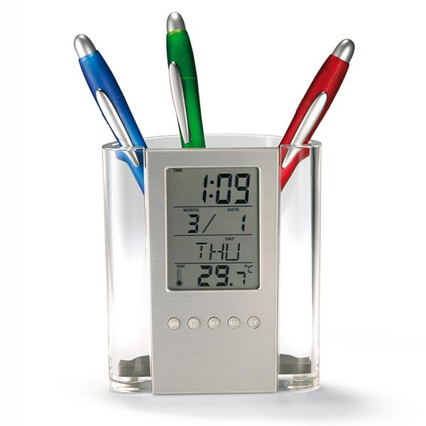 Stiftebox mit LCD Uhr (bedruckbar)