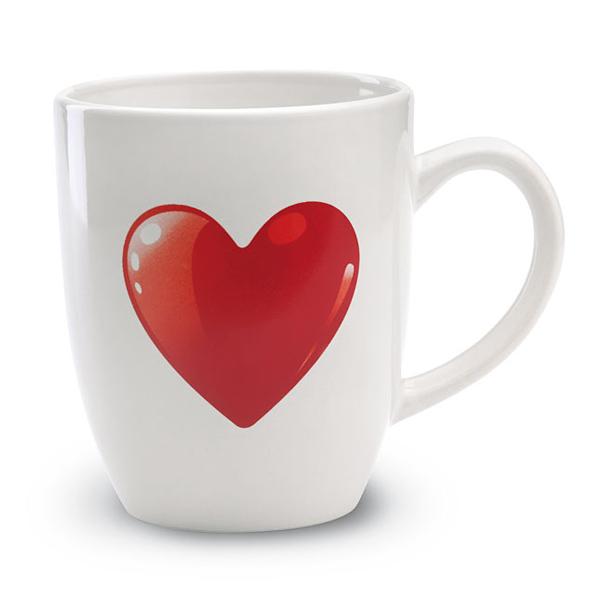 Tasse mit Herz (bedruckbar mit Firmenlogo)