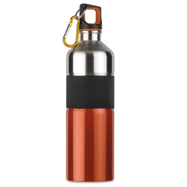Trinkflasche aus Edelstahl zweifarbig mit Karabiner (bedruckbar)