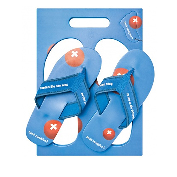 Strand Sandalen blau im Brett (Werbemittel mit Grafikdruck)
