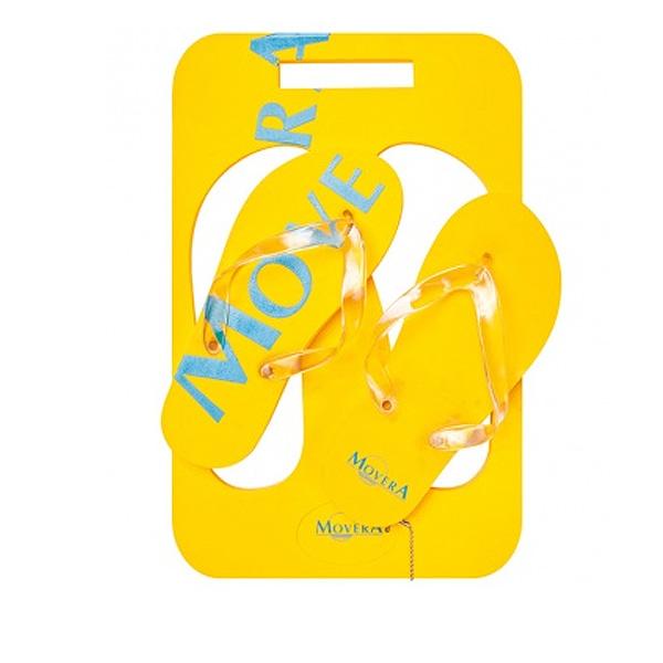 Zehensandalen gelb im Brett als Werbegeschenk