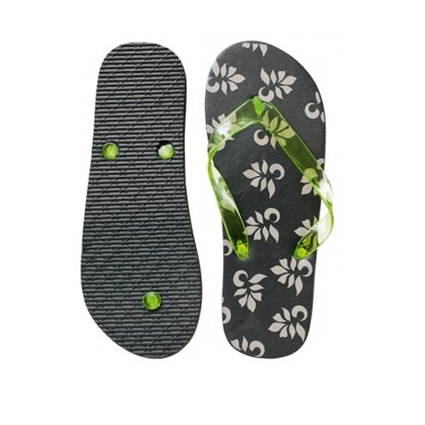 Zehensandalen grau grün (als Werbeartikel mit Logo)
