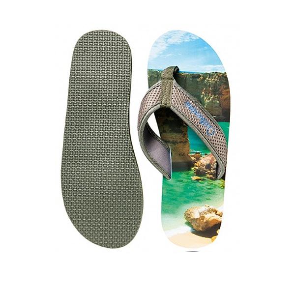 Strandsandalen grau mit Grafikdruck oder Logo bedrucken