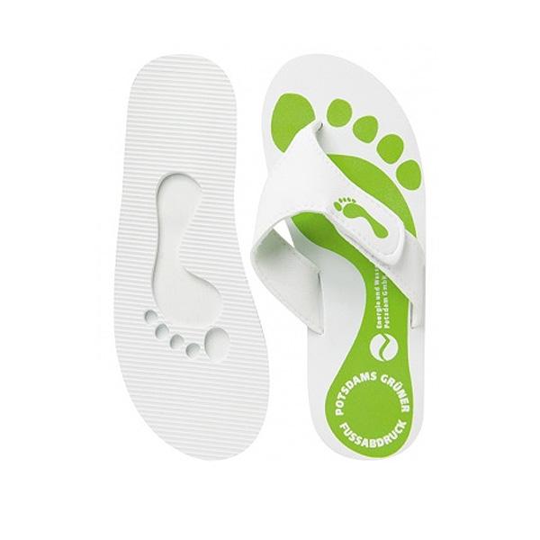Strandschuh weiß grün (Badeschuh mit Firmenlogo)