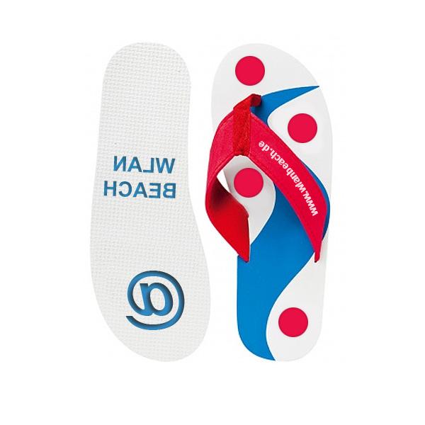 Badeschuhe rot blau (Sandalen als Werbeartikel)