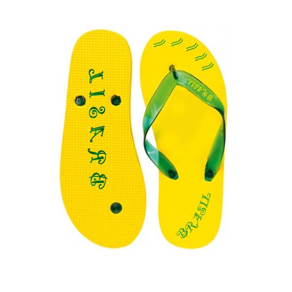 Zehensandalen gelb (Strandschuhe mit Logodruck)