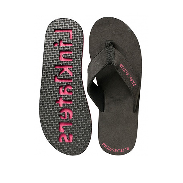 Strandsandalen schwarz rosa (Strandschuhe als Merchandising Artikel)