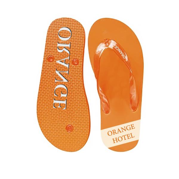 Zehensandalen orange (Werbemittel mit Logodruck)