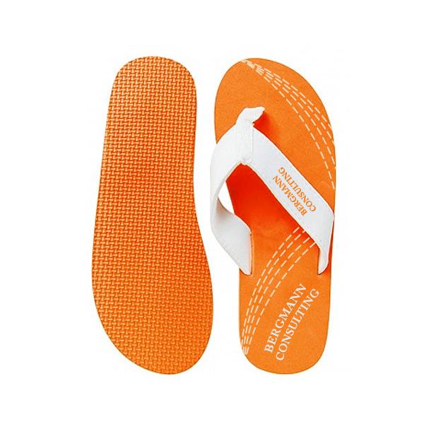 Zehensandalen orange (Werbemittel mit Firmenlogo)