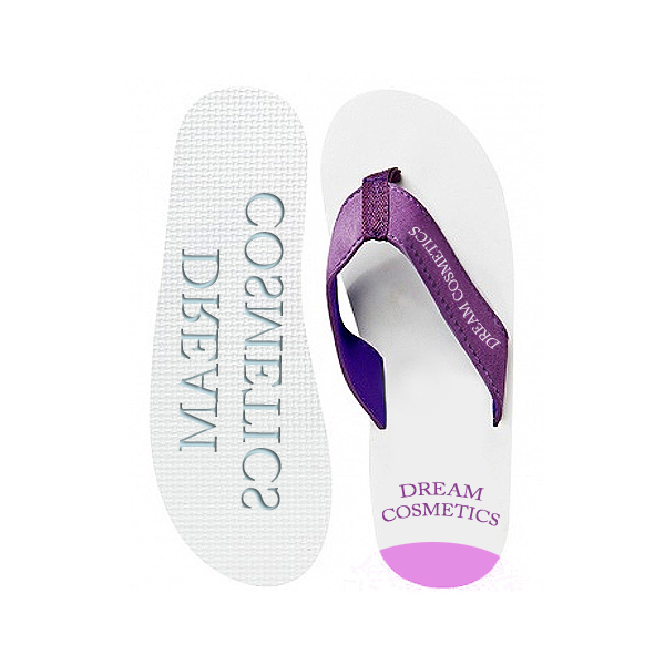 Zehensandalen weiss violett als Merchandising Artikel