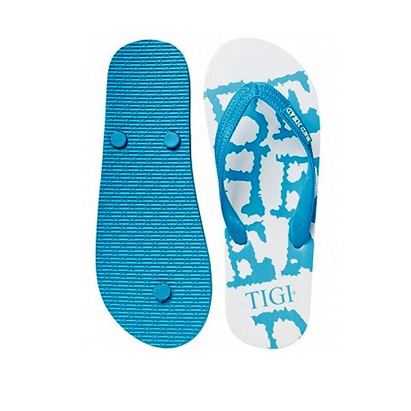 Zehensandalen weiss-blau (als Werbegeschenk mit Logodruck)