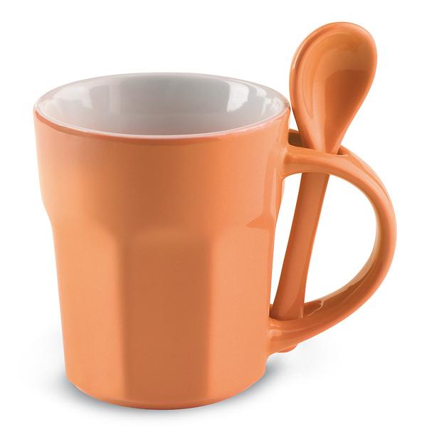 Kaffeetasse mit Löffel (als Werbemittel bedrucken)