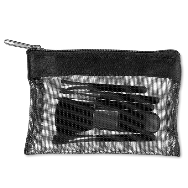 Make-up Set Beauty Bag in schwarz – transparent (bedruckbar)