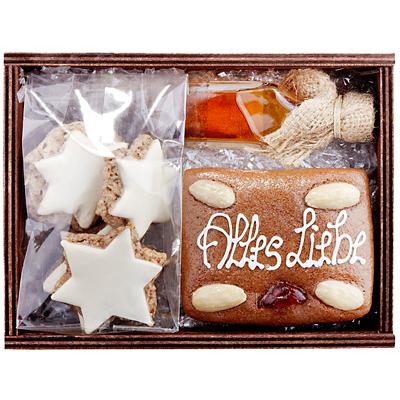 Lebkuchen und Likör im Set als Geschenk Präsent