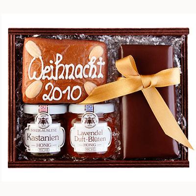 Honig, Lebkuchen und Schokolade im Set  als Werbepräsent