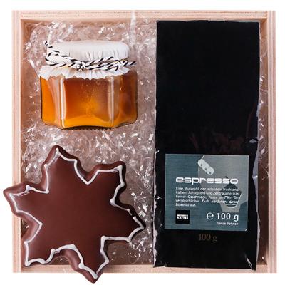 Espresso, Honig und Lebkuchen als Werbepräsent