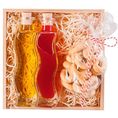 Olivenöl, Essig und Gebäck im Set als Geschenk Präsent