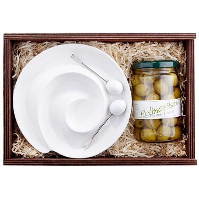 Grüne Oliven im Set als Geschenk Präsent