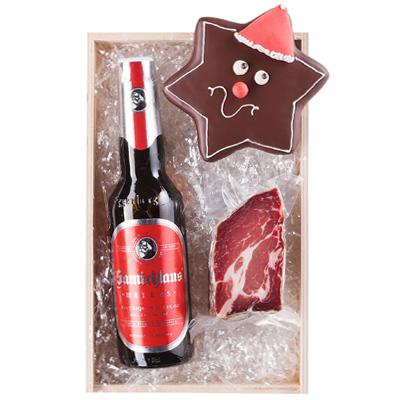 Schinkenspeck und Bier als Werbepräsente Weihnachten