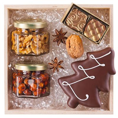 Nüsse, Honig, Trüffel Set als Werbepräsente Weihnachten