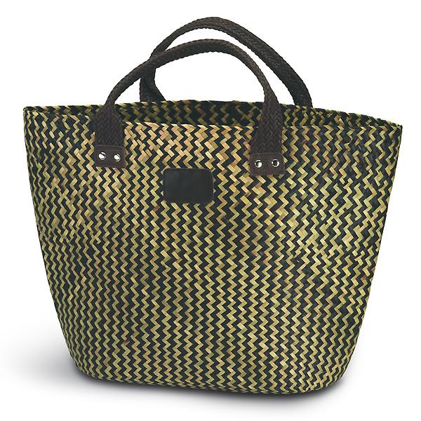 Strandtasche geflochten braun-beige (bedruckbar)